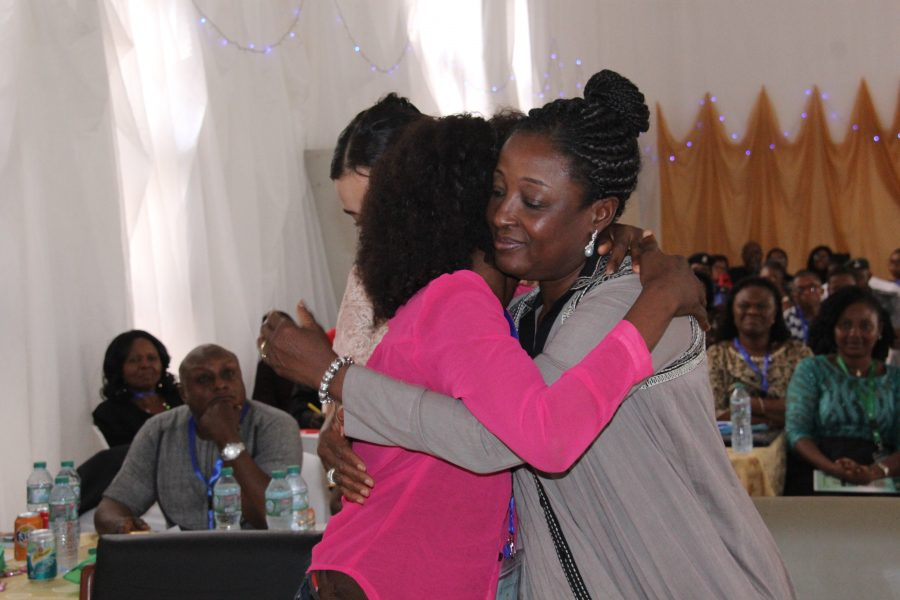 First Lady Obaseki with a survivor