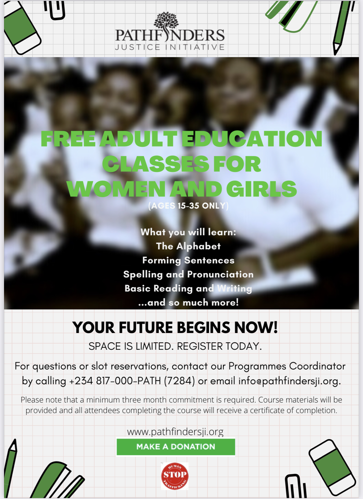 Free Adult Education Classes for Women and Girls Ages 15-35